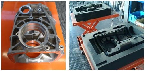 Machined gearbox housing and 3D printed molds for the first prototype