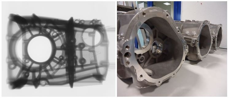 CT scan confirms robust process conditions (left), view of a casting from the prototype production (right)