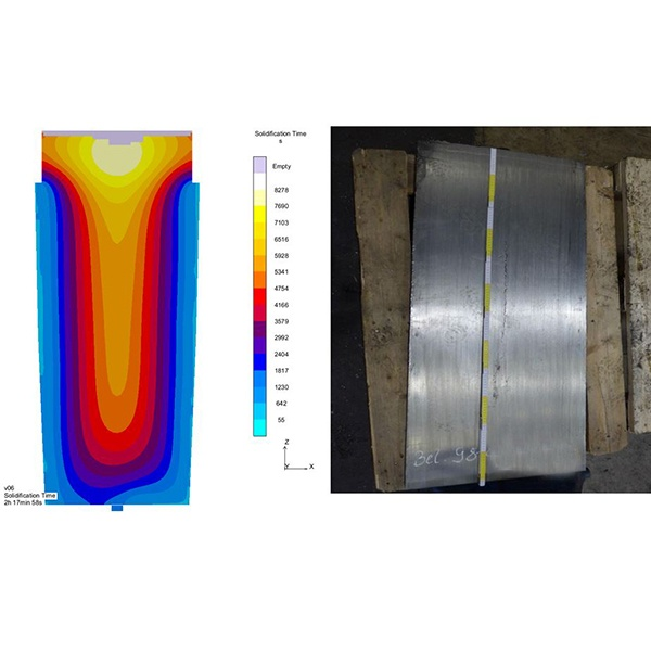 Figure 1: Progress of the solidification front and formation of centerline porosity for a stainless steel grade