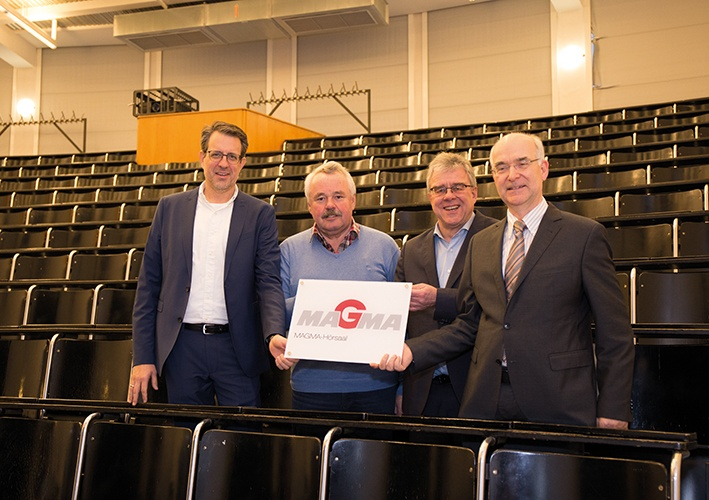 "A shared commitment to the growth of young talents in the ""MAGMA-Hörsaal"" H218 at the Foundry Institute  of the RWTH Aachen University (l. to r.): Dr. Marc Schneider, Dr.-Ing. Erwin Flender, Dr.-Ing. Jörg C. Sturm, Univ. Prof. Dr.-Ing. A. Bührig-Polaczek"